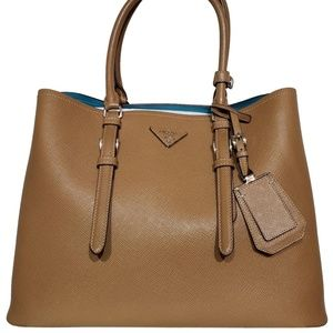 Double Saffiano Cuir Tan Leather Tote Bag